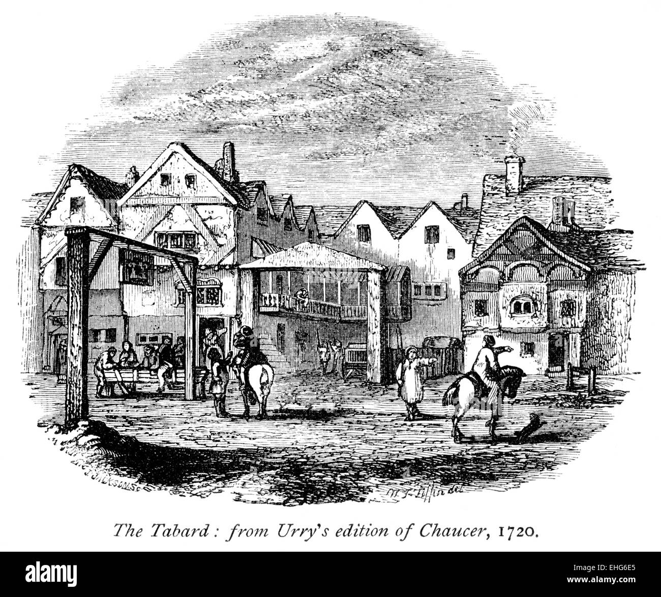 Engraving of The Tabard, Southwark, from Urry's Edition of Chaucer, 1720 scanned at high resolution from a book - Stock Image