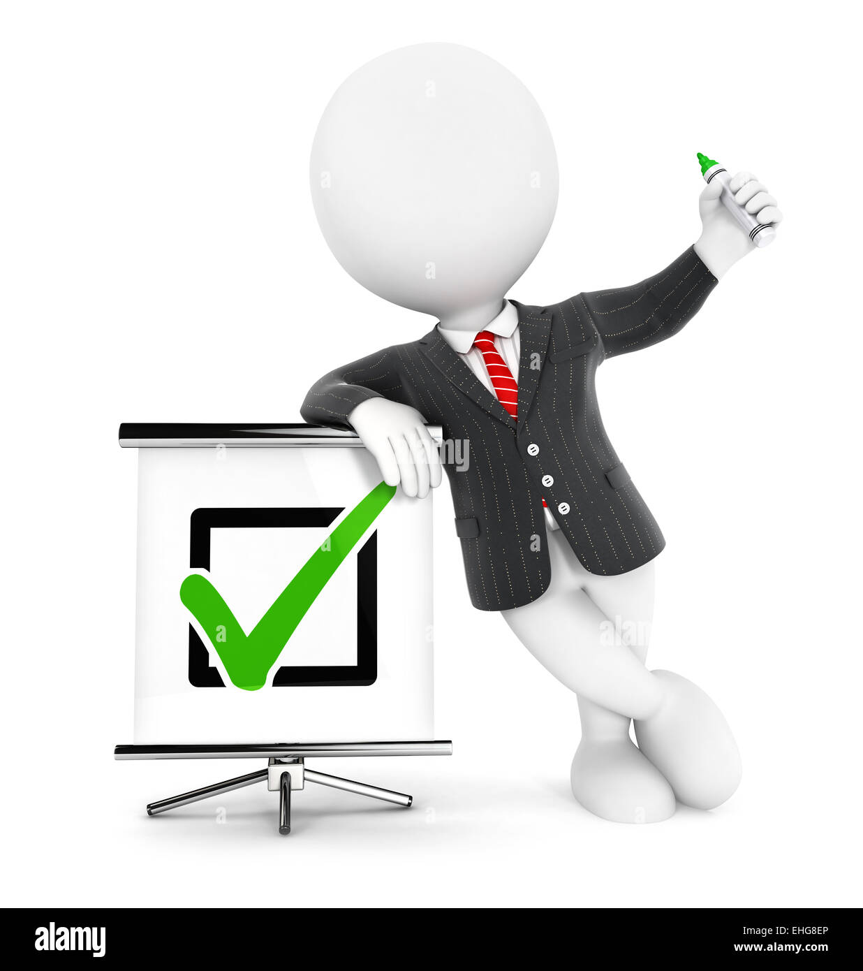 3d white people businessman positive check, isolated white background, 3d image Stock Photo