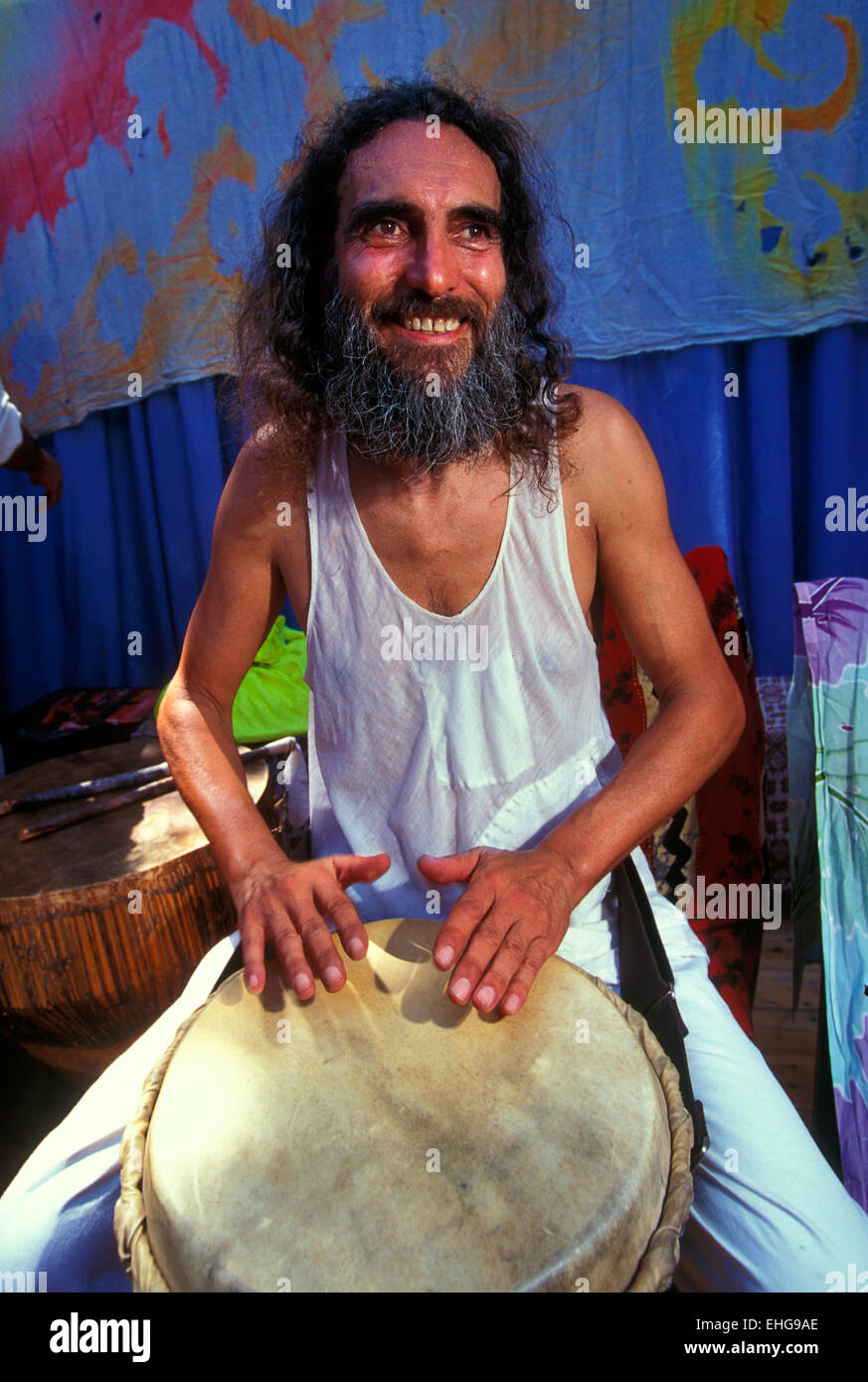 Bongo player in Ibiza in the 1990s. - Stock Image
