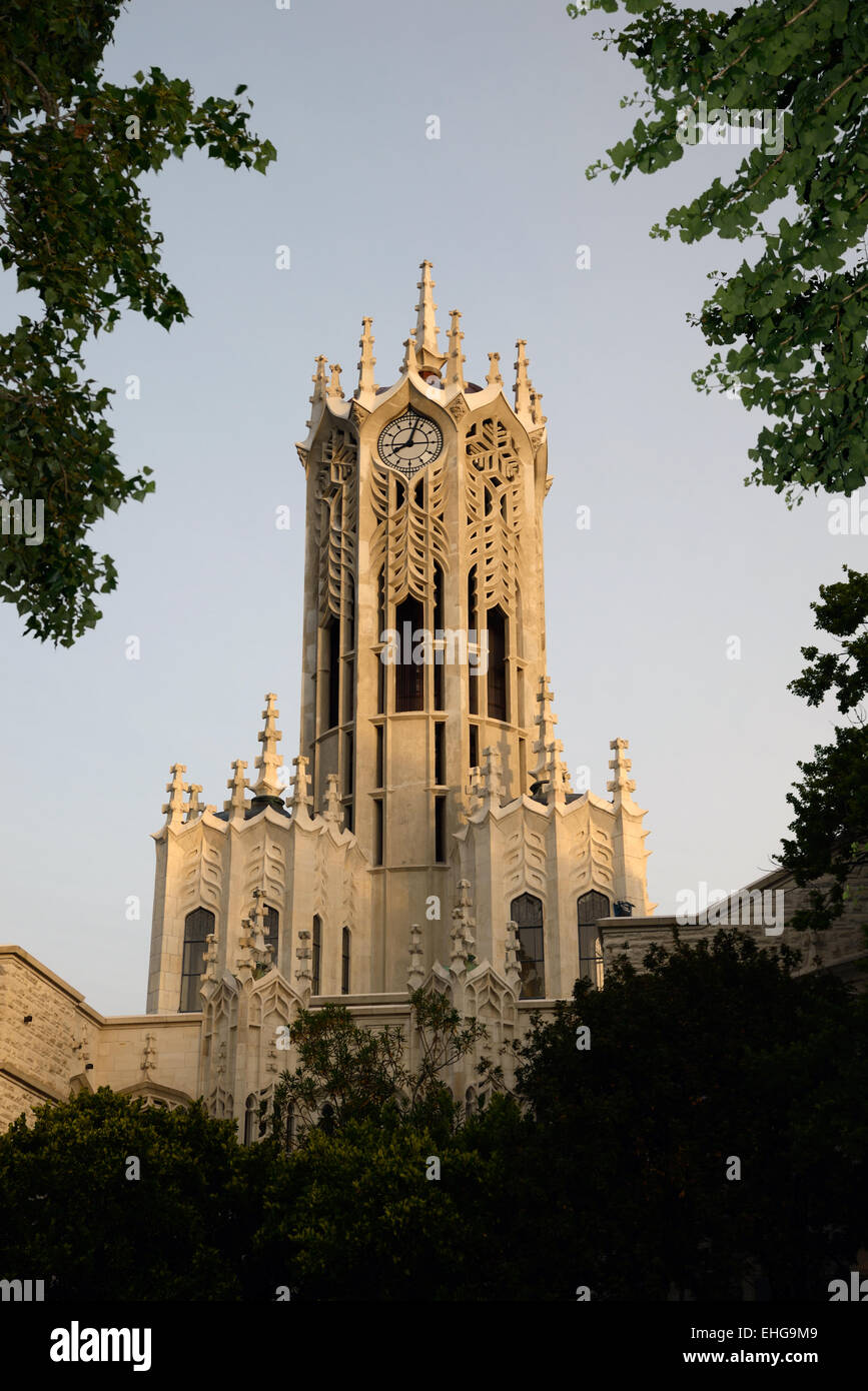 The iconic clock tower at the University of Auckland, Northland, New Zealand Stock Photo