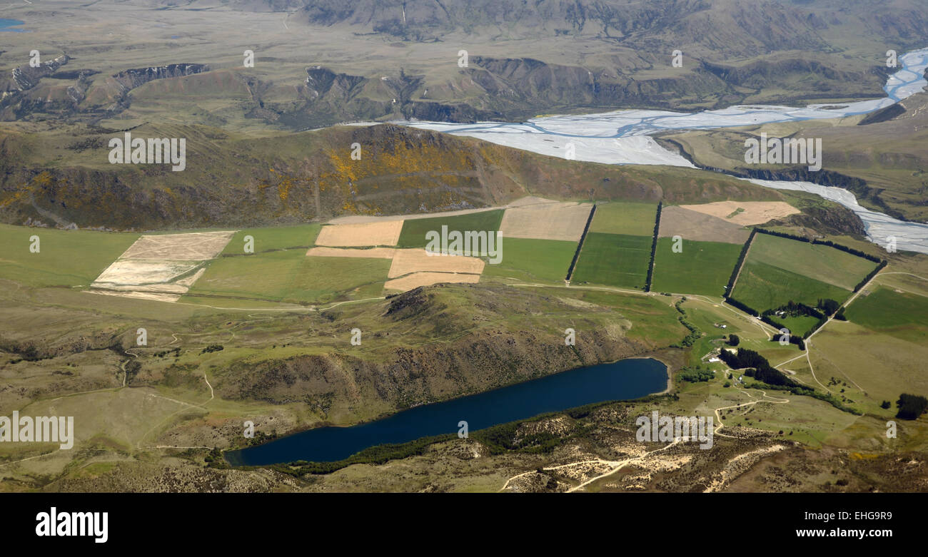 Aerial of a high country cropping station near Canterbury, South Island, New Zealand - Stock Image