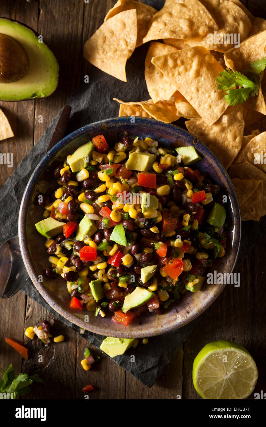 Homemade Texas Caviar Been Dip with Chips - Stock Image