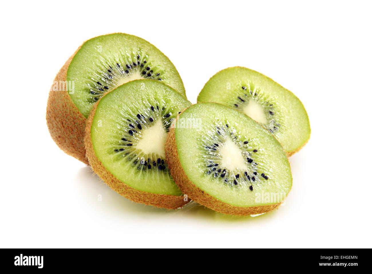 Kiwi fruit is cut into slices. - Stock Image