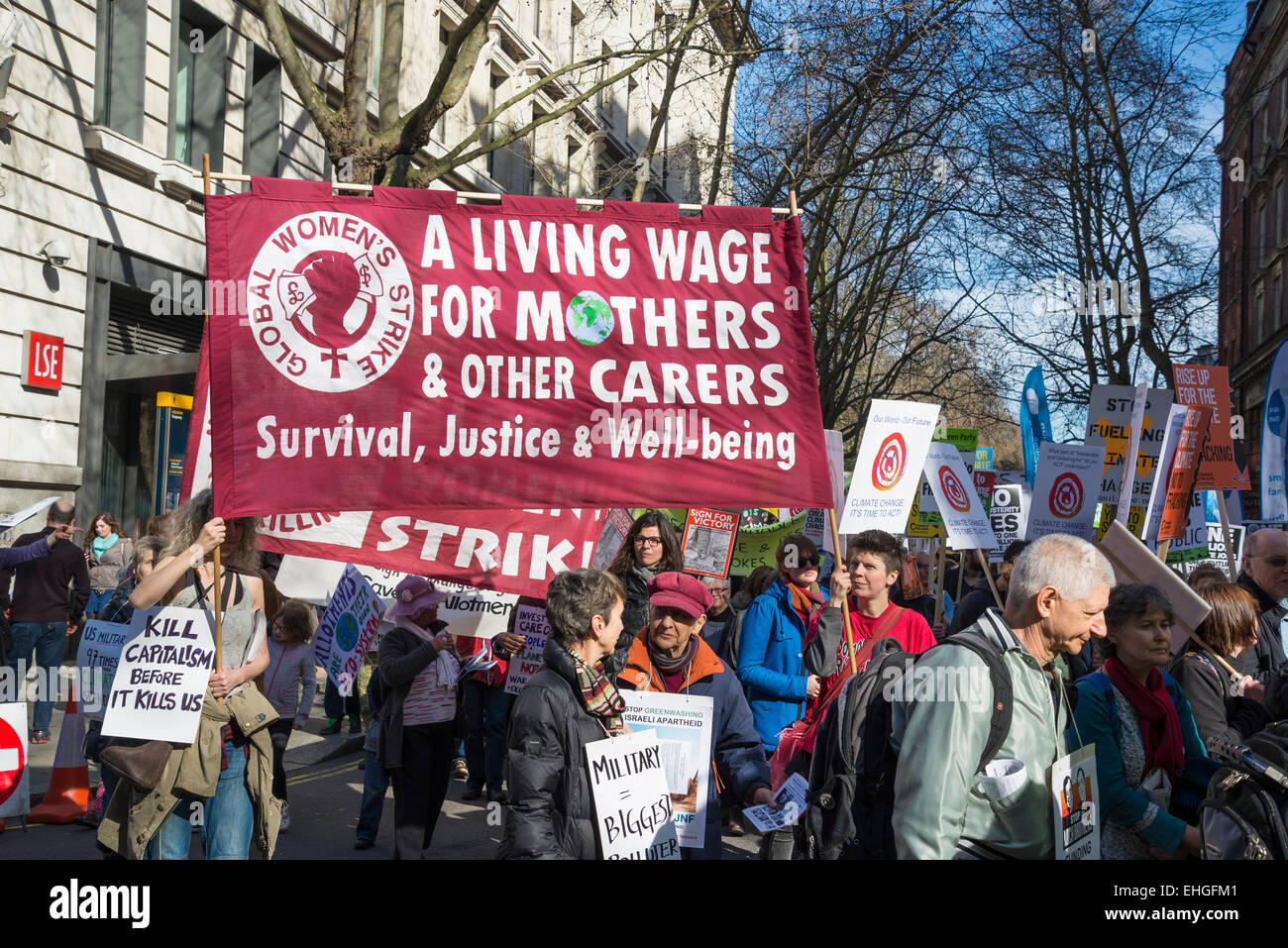 Campaign Against Climate Change demonstration, London, 7 March 2015, Uk - Stock Image
