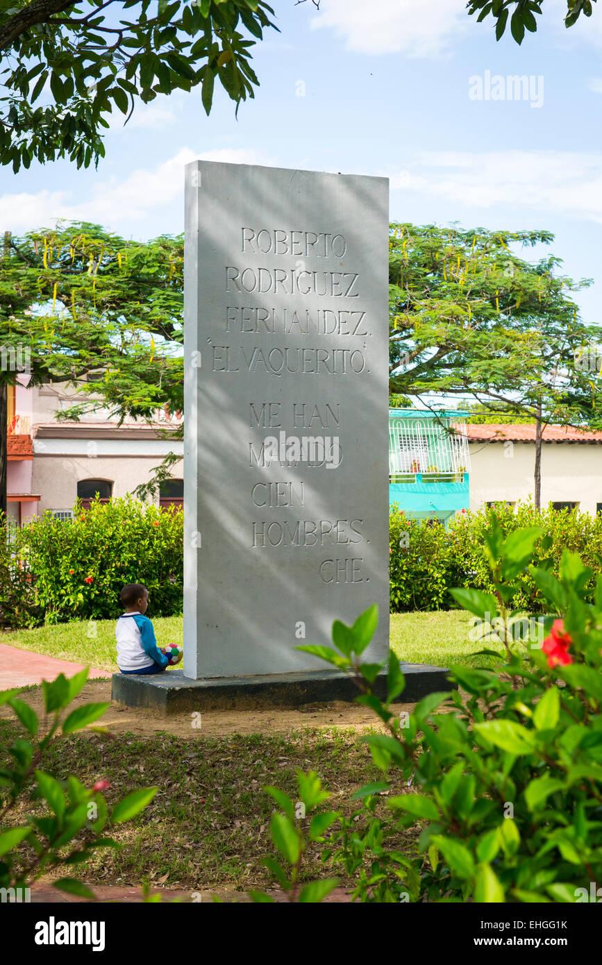 Cuba Santa Clara Parque Tudury monument to Roberto Rodriguez Fernandez - El Vaquerito - leader Suicide Squad in - Stock Image