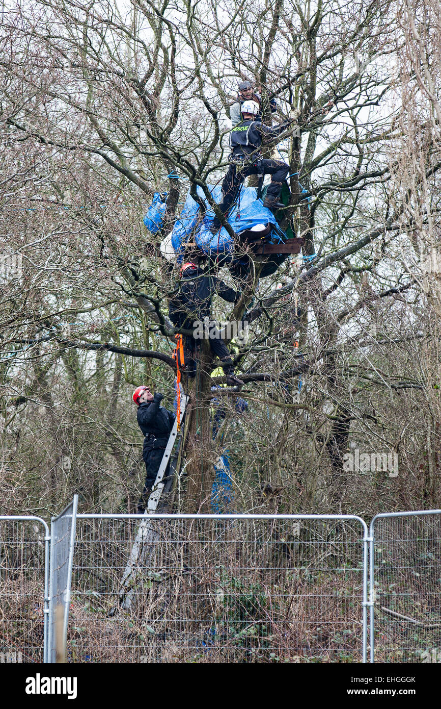 Bristol, UK. 13th Mar, 2015. Bailiffs and specialist climbers evicted more tree protesters who are preventing construction Stock Photo