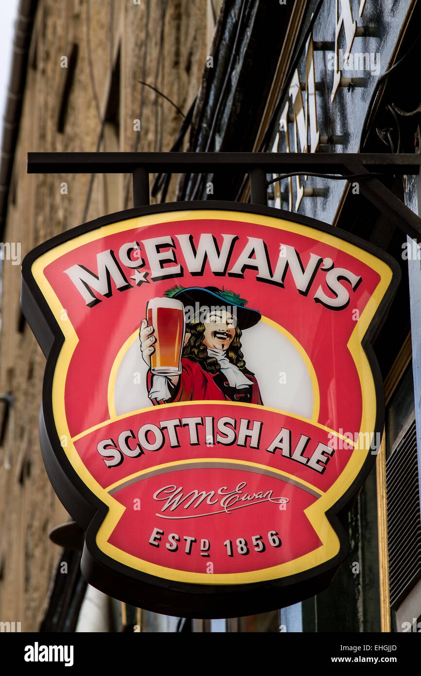 William McEwan`s Scottish Ale (1856) pub sign outside a local pub Ancum Arms located on Lochee High Street in Dundee, - Stock Image