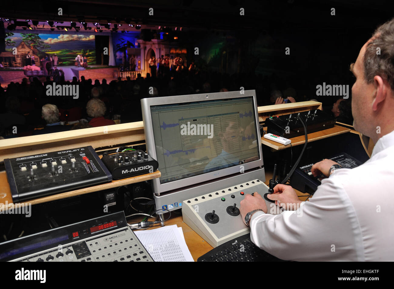 A special effects technician adds to the action during a live stage performance Stock Photo
