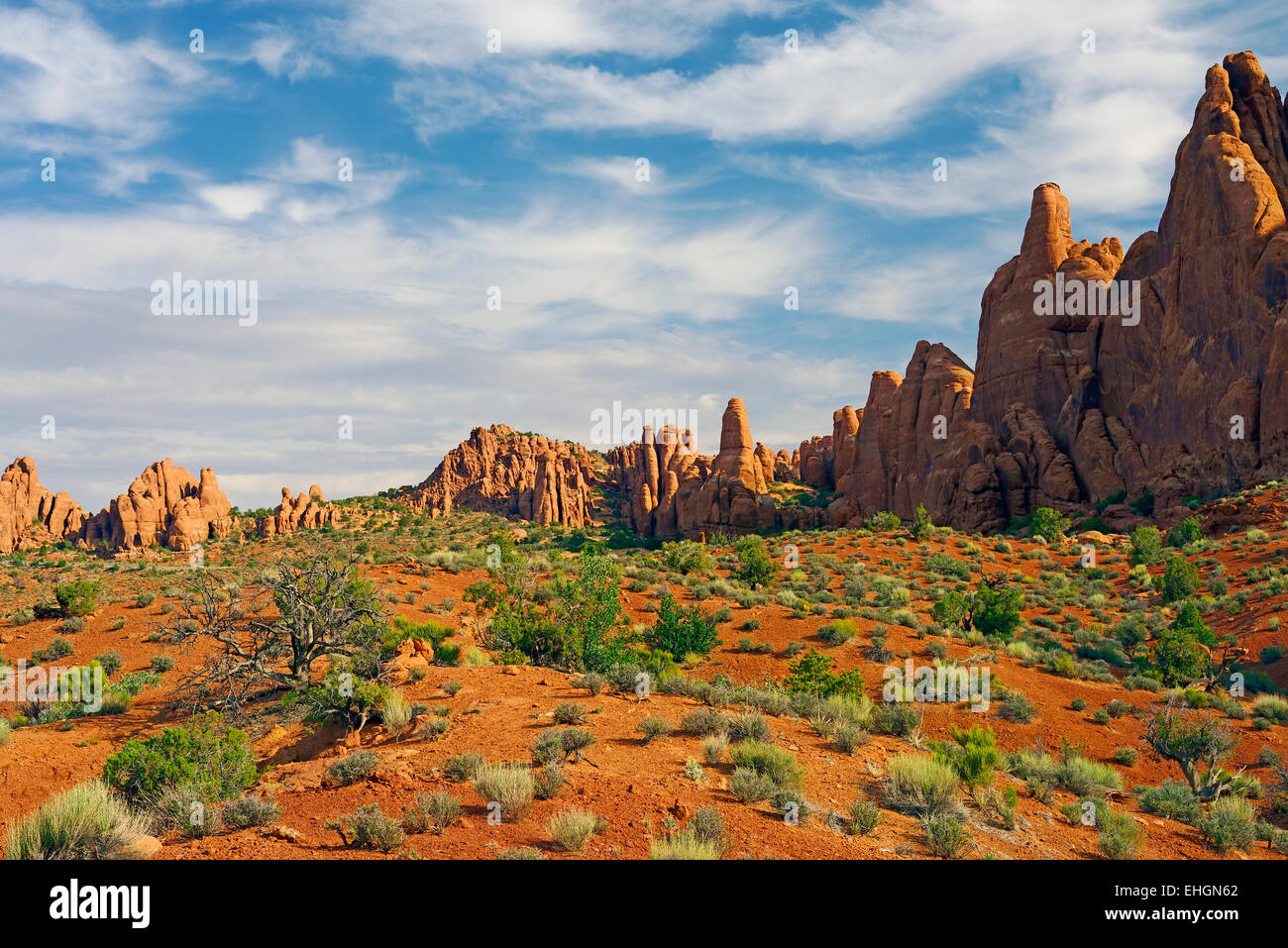 Red rock formations in Arches National Park, Utah, United States. - Stock Image