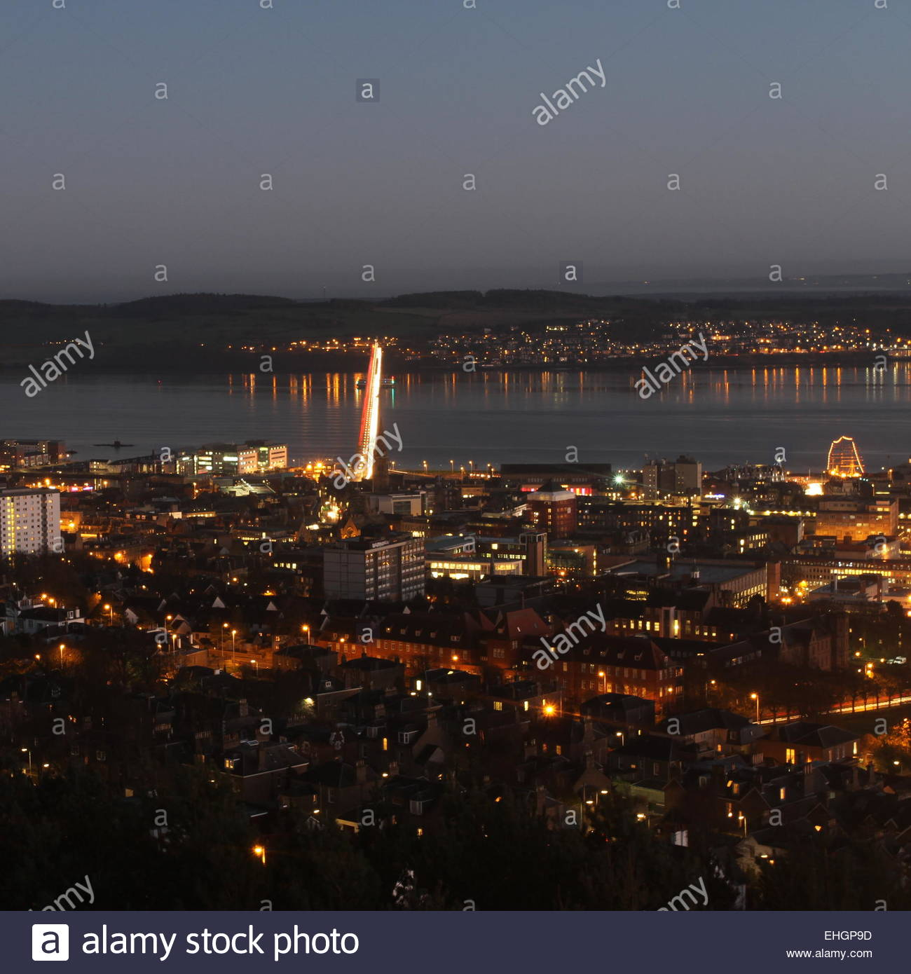 Dundee cityscape night Scotland  December 2014 - Stock Image
