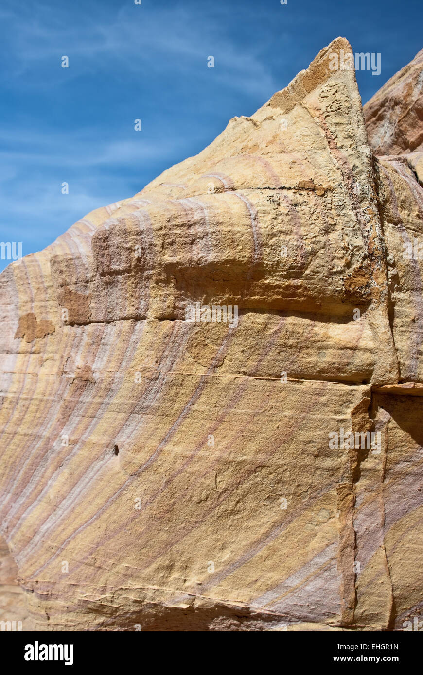 Sandstone rock formations imitate shark fins - Stock Image