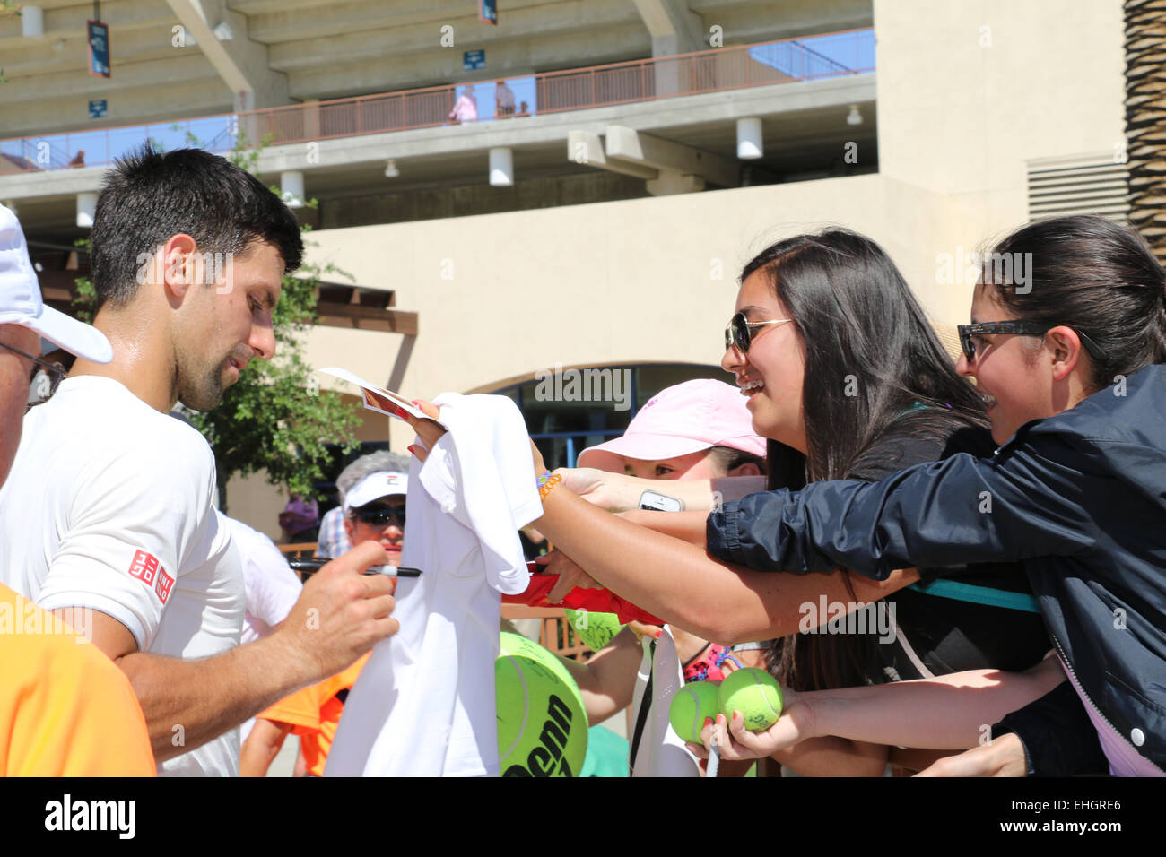 Indian Wells, California 13th March, 2015 Number one ranked Serbian tennis player Novak Djokovic signs autographs - Stock Image