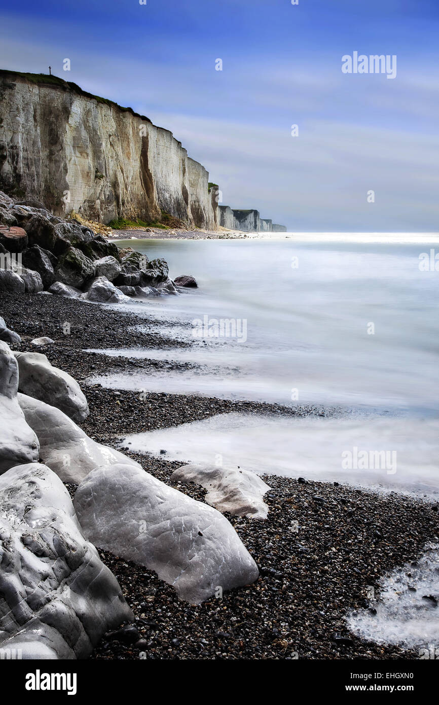 chalk cliffs of Ault, Picardy, France - Stock Image