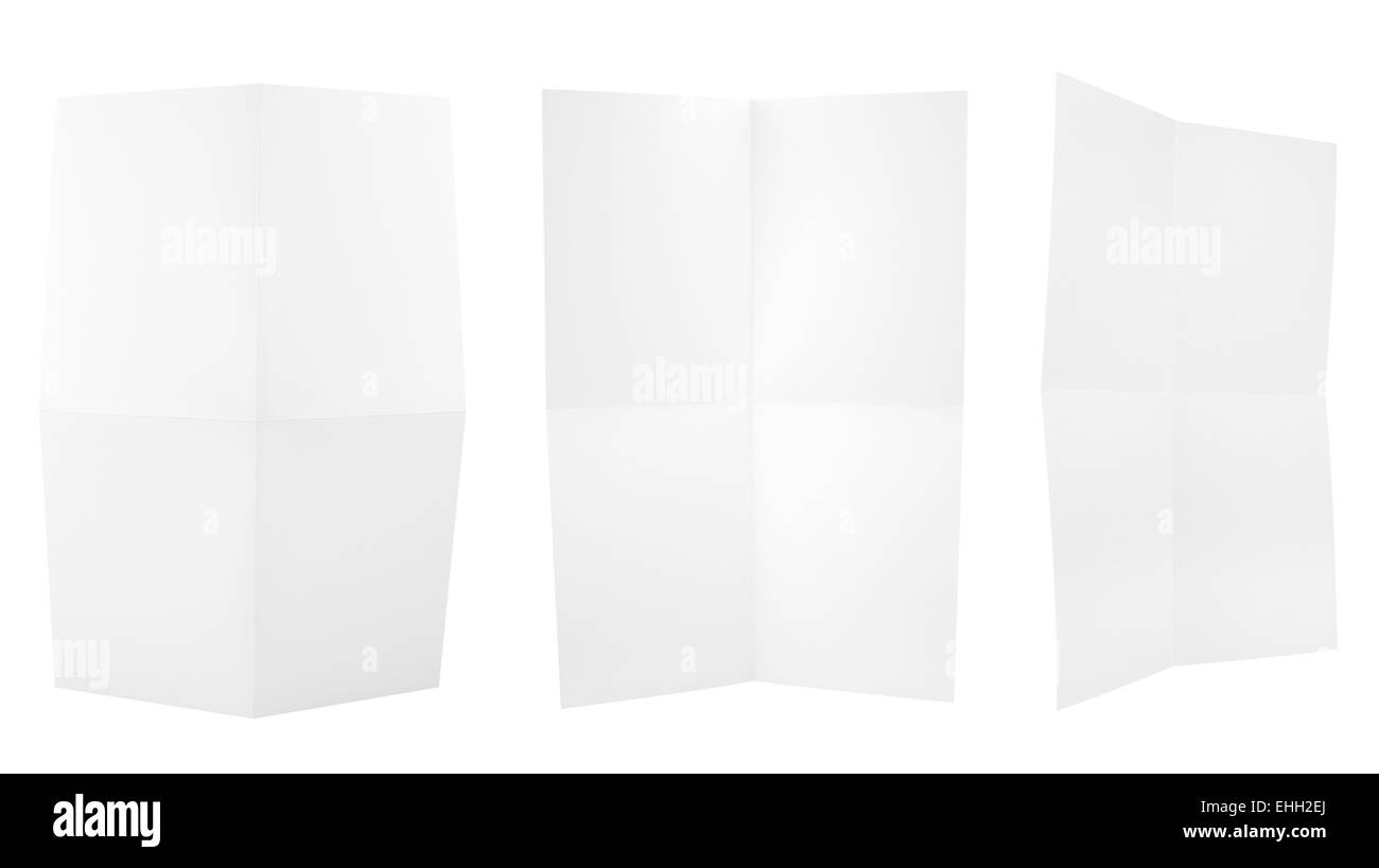 Set of folded A4 paper sheets - Stock Photo
