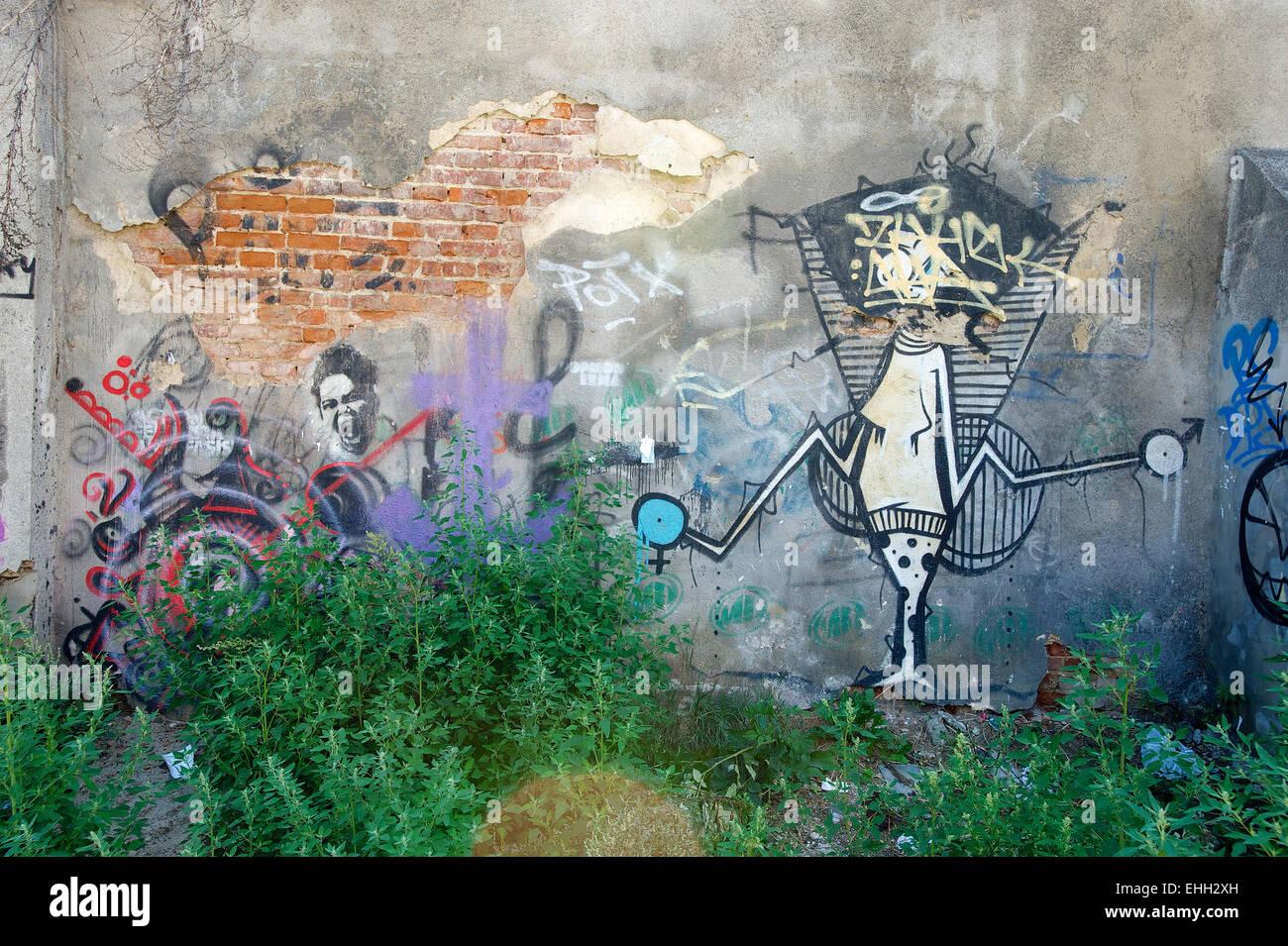 Grafitti in Krakau Poland Stock Photo