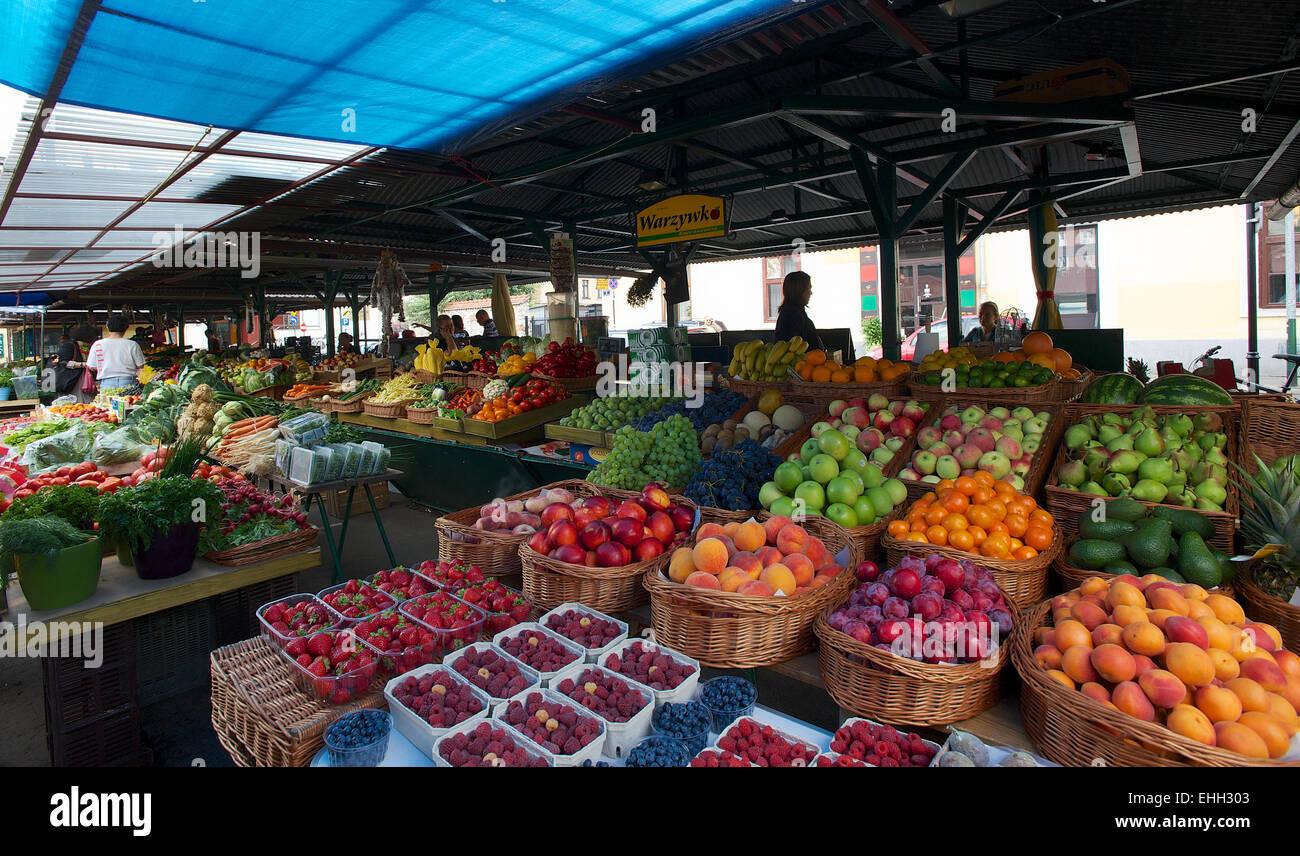 Fresh Market in Krakau Poland - Stock Image