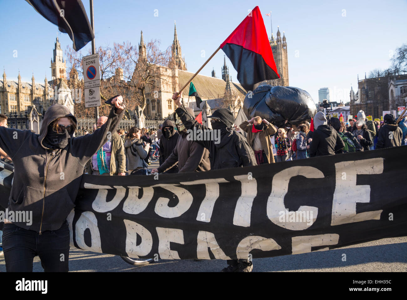 Campaign Against Climate Change demonstration, Westminster, London, 7 March 2015, Uk - Stock Image