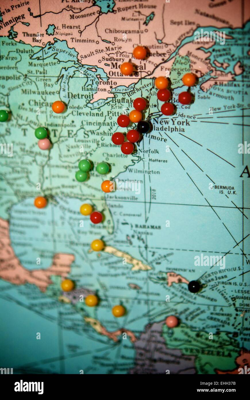 travel map with push pins paris