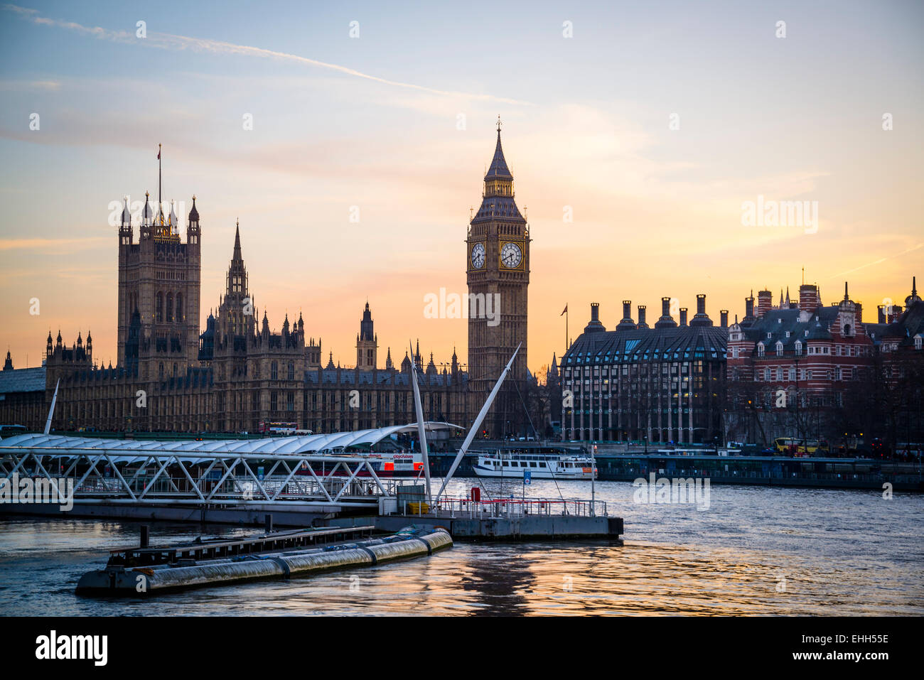 Big Ben and Houses of Parliament at dusk, London, England, Uk - Stock Image