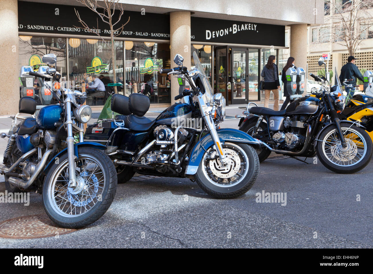 Street parked motorcycles - USA - Stock Image