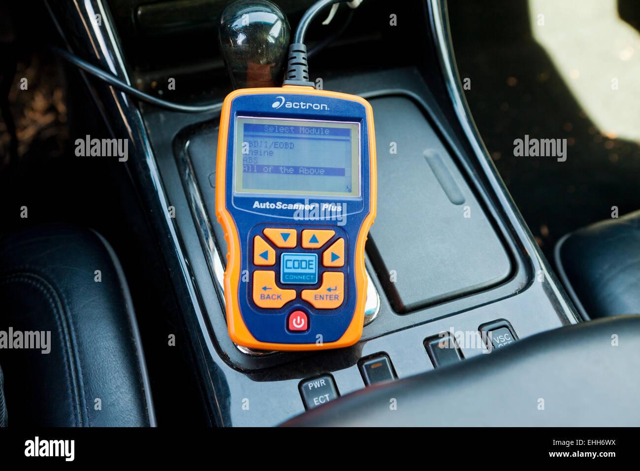 OBD II automotive diagnostics tool - USA - Stock Image