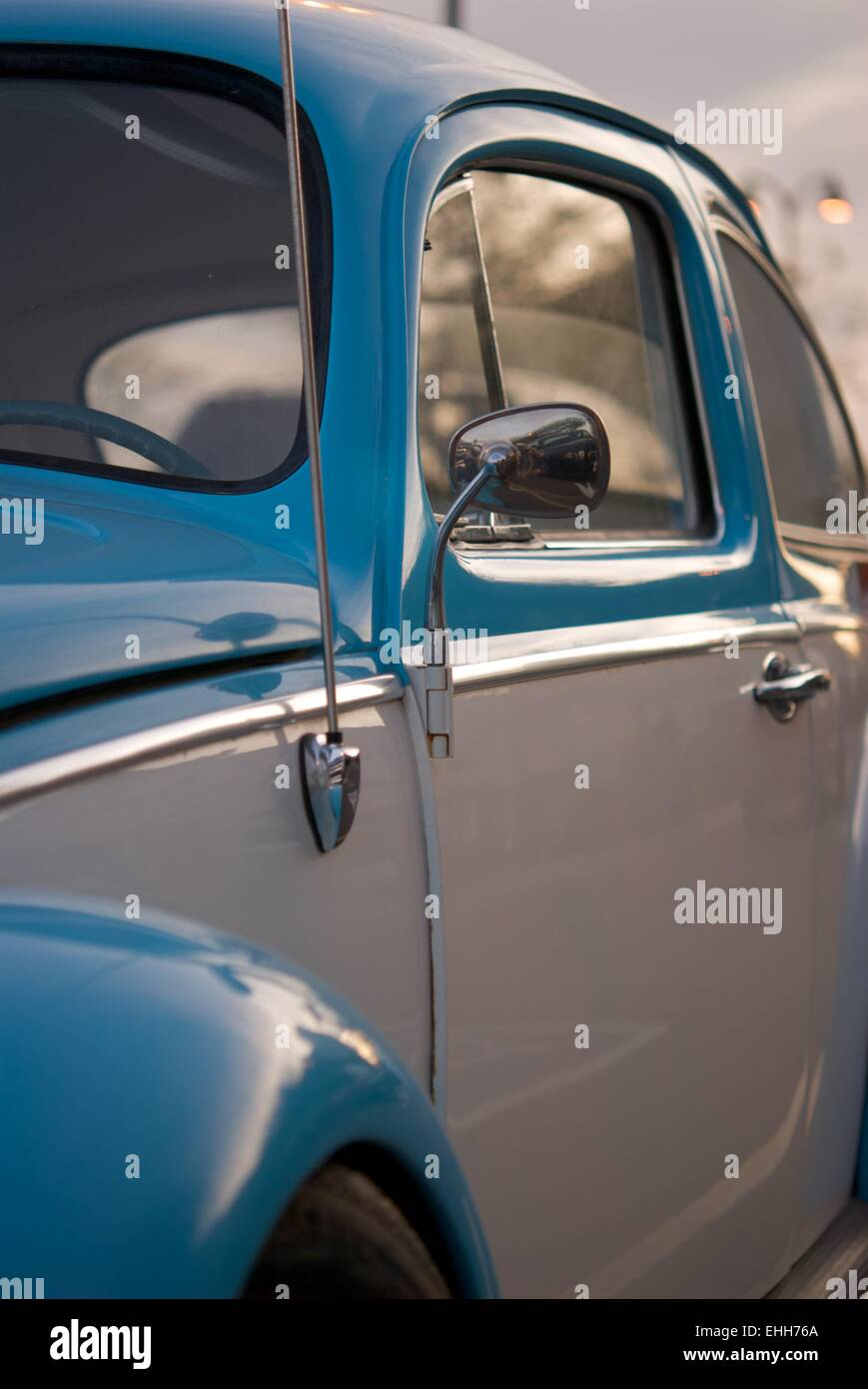 Classic Blue and White VW Beetle - Stock Image