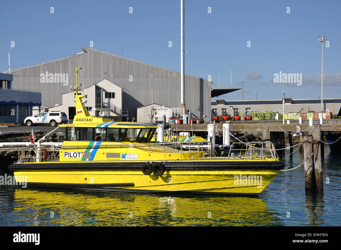 The pilot boat waits for a job at the Port of Tauranga, New Zealand - Stock Image