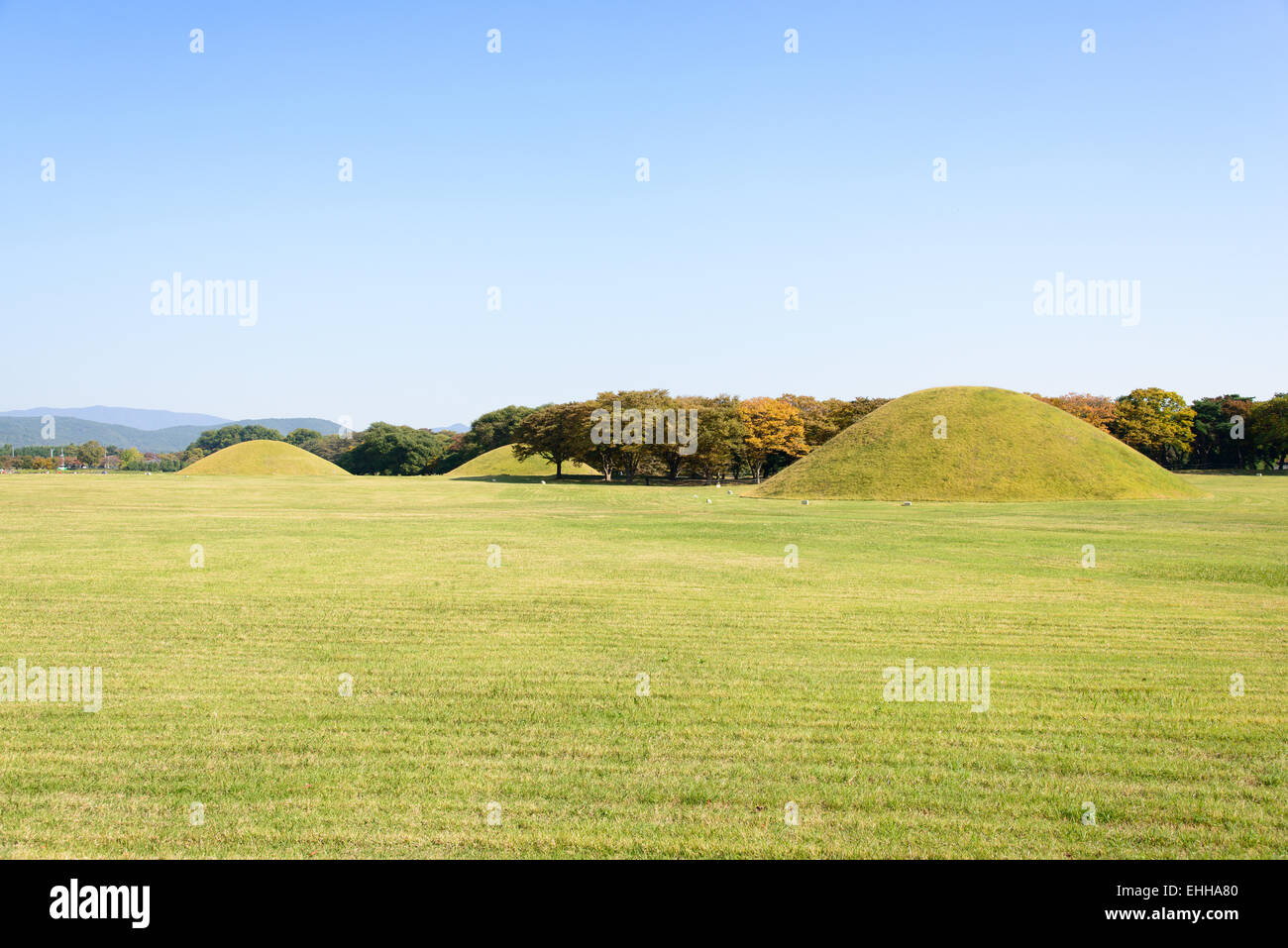royal tombs located in Gyeongju in Silla kingdom. Silla was one of the kingdoms of acient Korea. Stock Photo