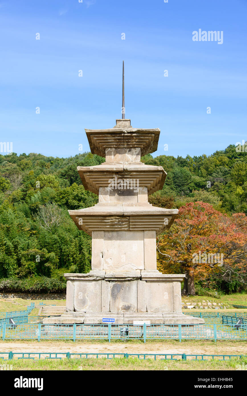 There are two three-story stone pagodas at the Gameunsa site. These are the No.112 National Treasure of Korea. - Stock Image