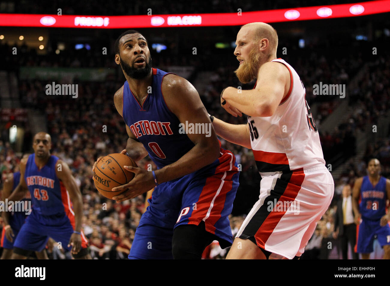 March 13, 2015 - ANDRE DRUMMOND (0) posts up near the basket. The Portland Trail Blazers play the Detroit Pistons Stock Photo