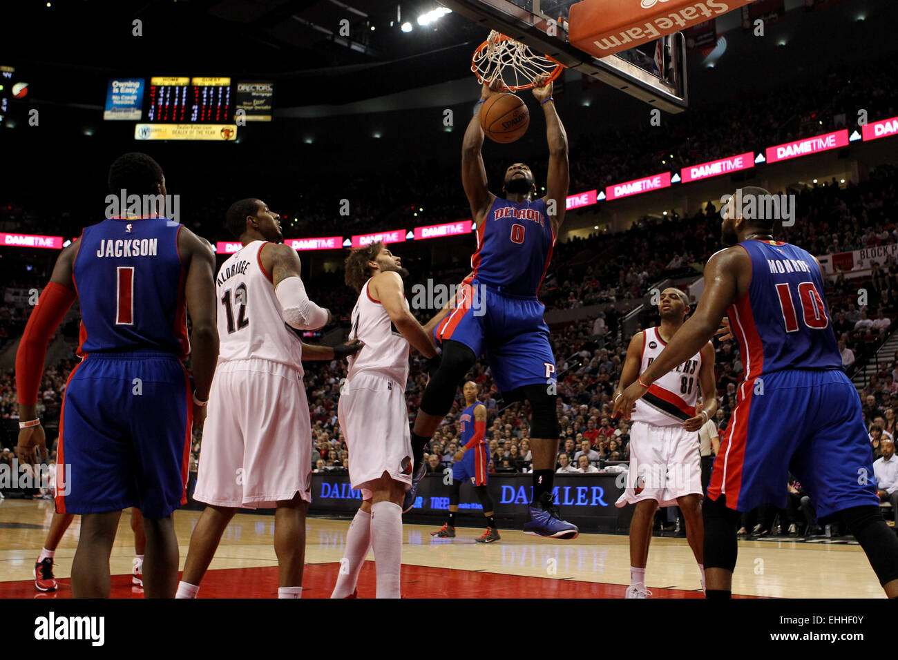 March 13, 2015 - ANDRE DRUMMOND (0) dunks the ball. The Portland Trail Blazers play the Detroit Pistons at the Moda Stock Photo