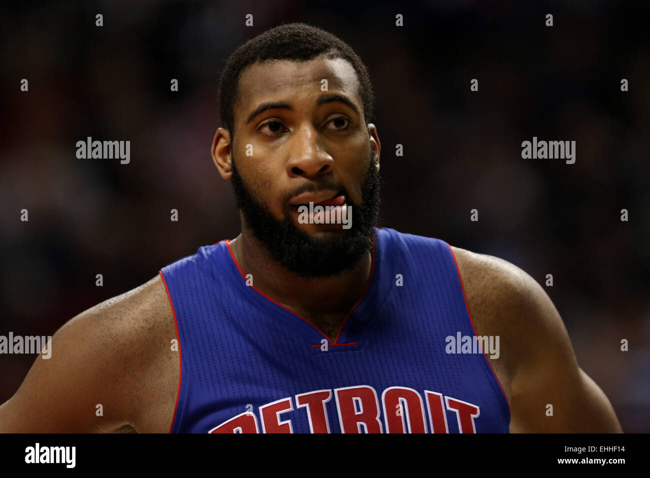 March 13, 2015 - ANDRE DRUMMOND (0) looks on during a timeout. The Portland Trail Blazers play the Detroit Pistons Stock Photo