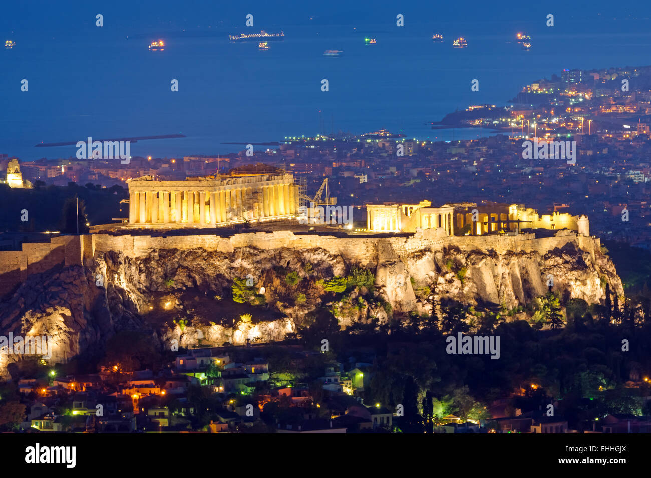 The Acropolis at night Stock Photo