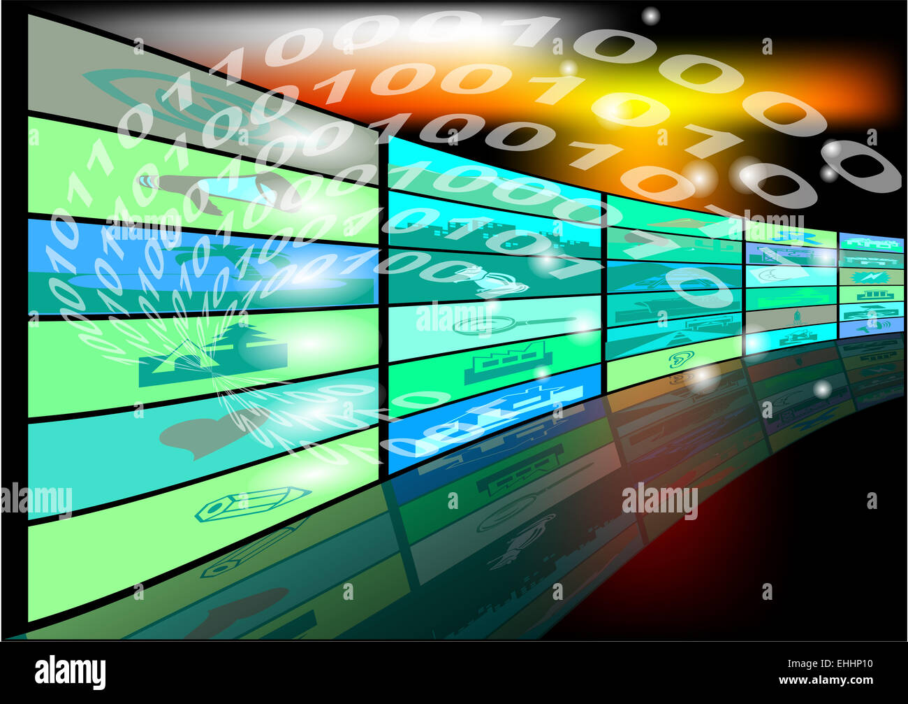 abstract background with binary code and screens - Stock Image