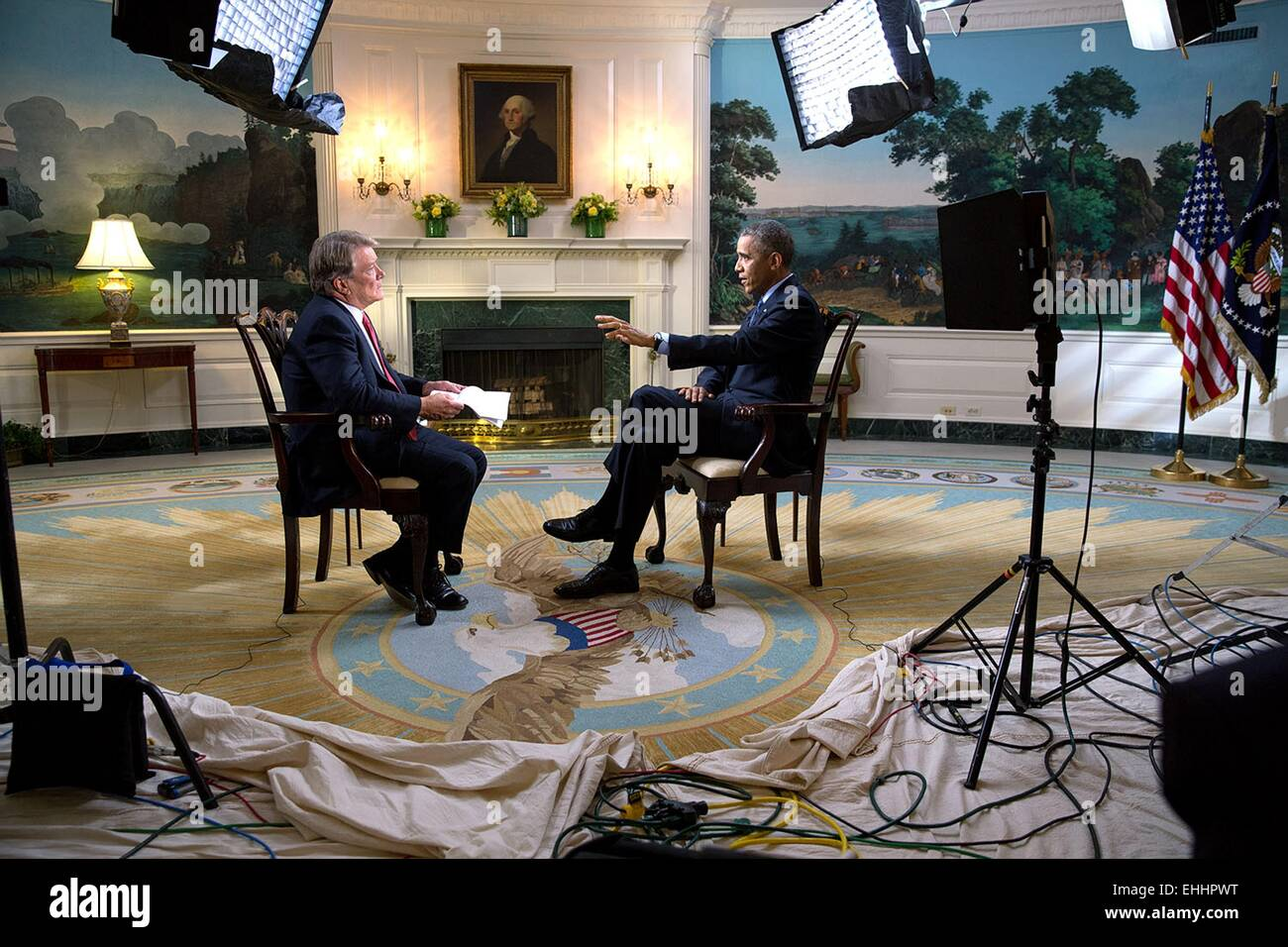 US President Barack Obama participates in an interview with Steve Croft of 60 Minutes in the Diplomatic Reception - Stock Image