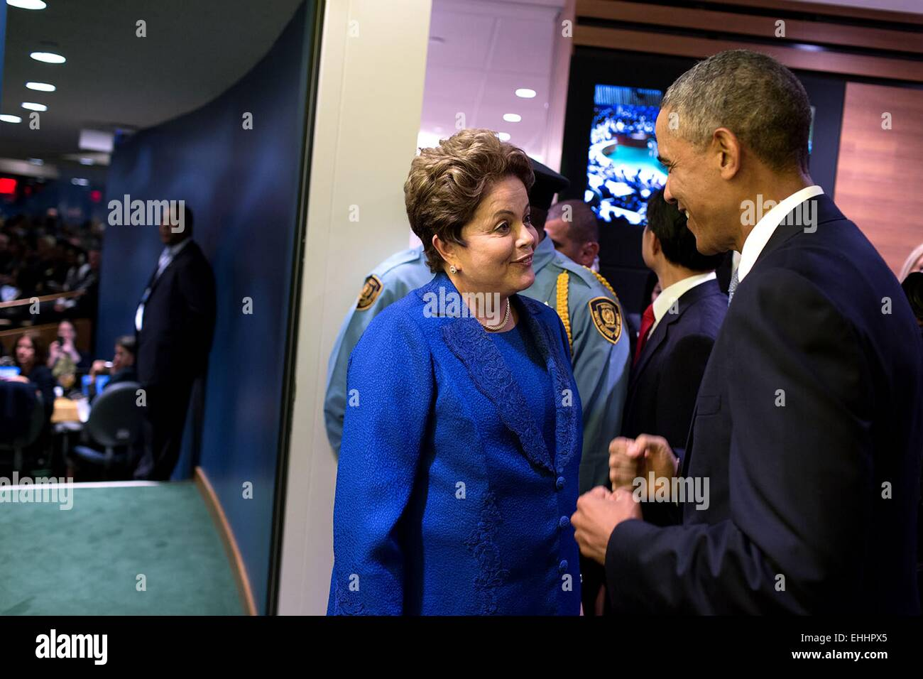 US President Barack Obama greets President Dilma Rousseff of Brazil at the United Nations, prior to addressing the - Stock Image