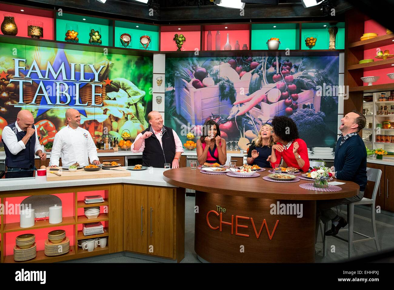 US First Lady Michelle Obama tapes a segment of television show The Chew September 23, 2014 in New York, N.Y. Participants - Stock Image