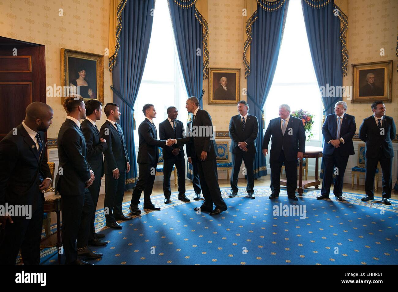 US President Barack Obama greets the players and leadership of Sporting Kansas City prior to an event to welcome - Stock Image