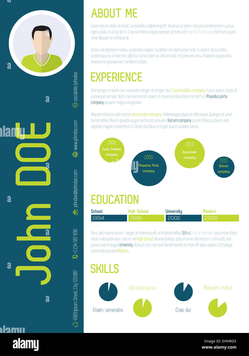 Modern Resume Cv Curriculum Vitae Design With Cool Colors Stock