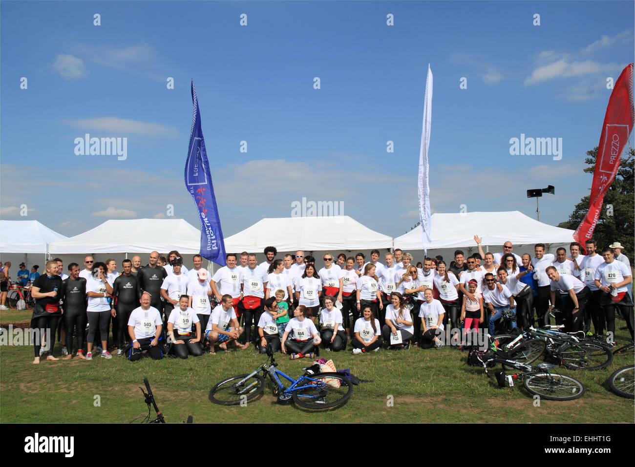 Prezzo team participants, Tri for Life 2014, Woburn Abbey, Bedfordshire, England, Great Britain, United Kingdom, - Stock Image