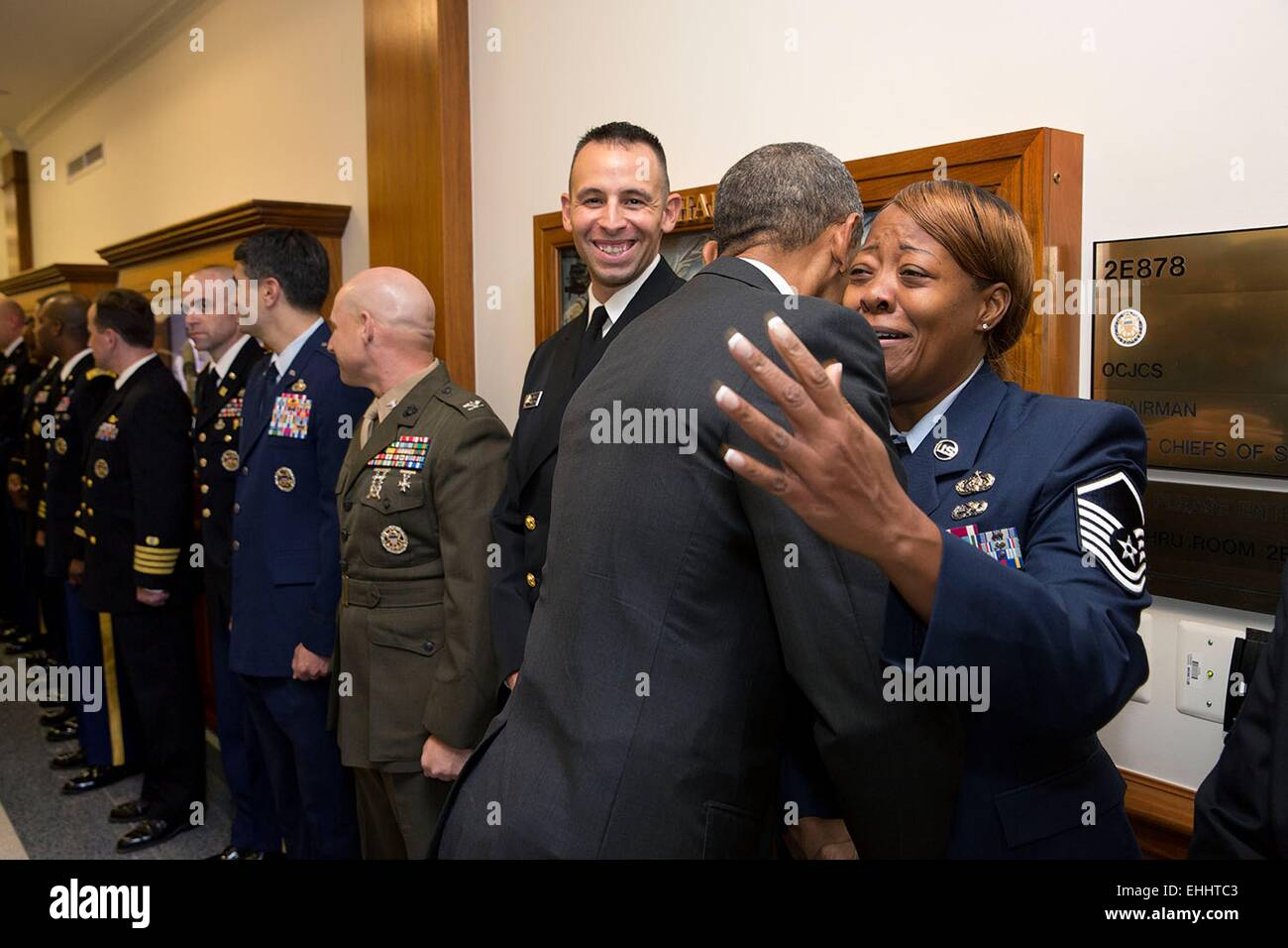 US President Barack Obama greets U.S. service members at the Pentagon October 8, 2014 in Arlington, Virginia. - Stock Image