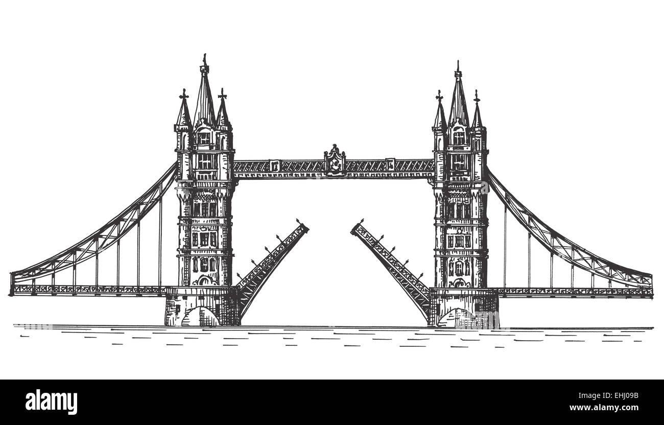 London, England, the bridge on white background - Stock Image