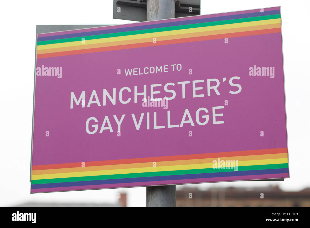 Welcome to Manchester's Gay Village Sign - Stock Image