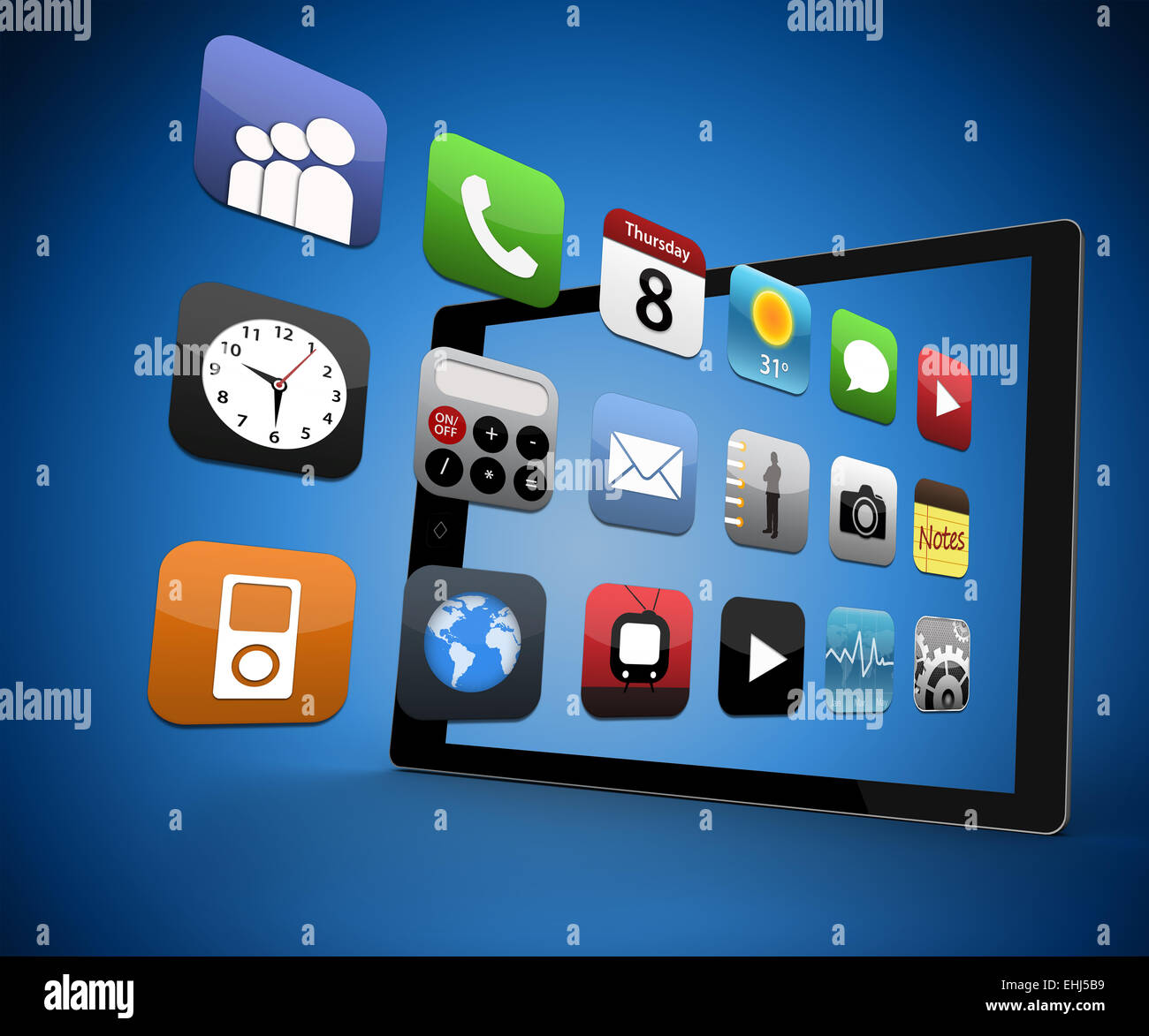 Applications coming out from digital tablet Stock Photo