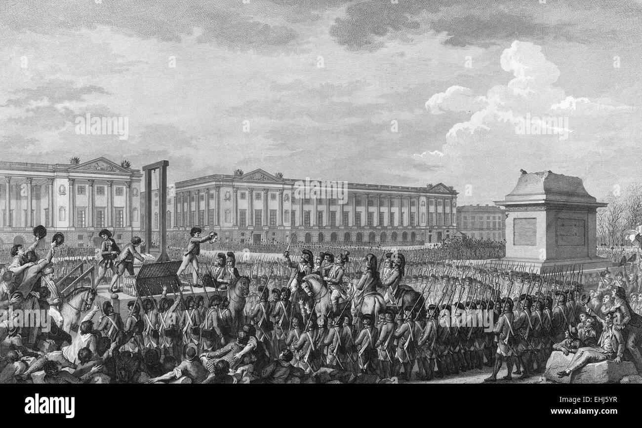 The execution of Louis XVI in the Place de la Révolution, France - Stock Image