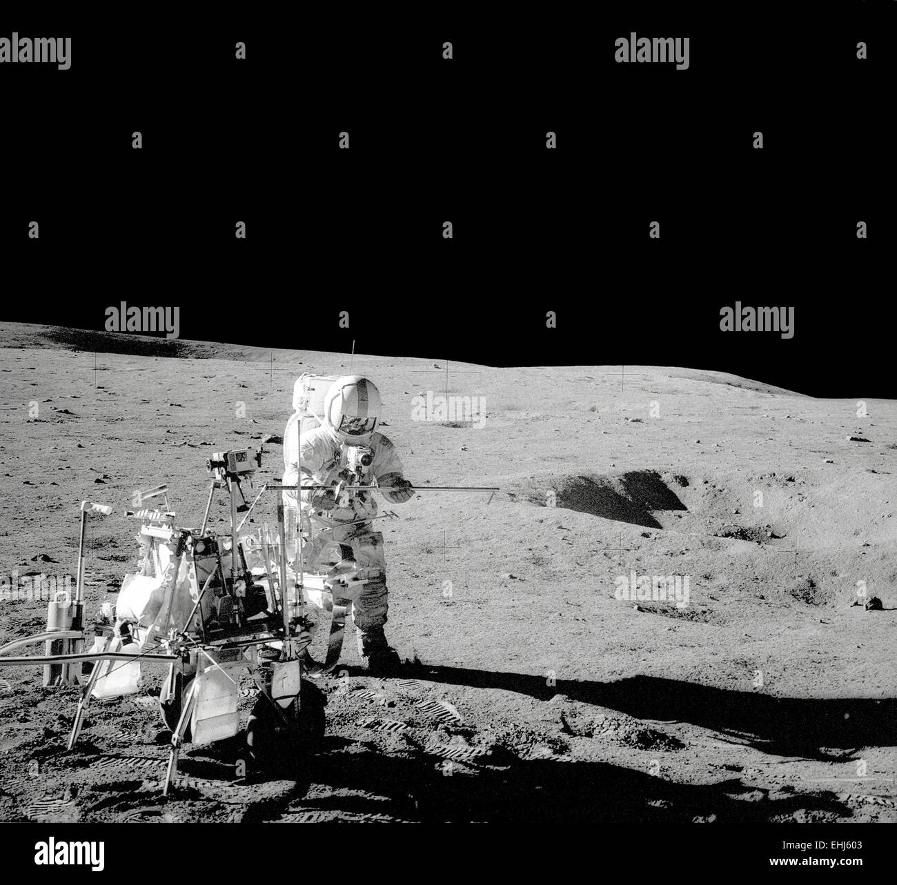 Astronaut Captain Alan Bartlett Shepard on the moon during the Apollo 14 mission - Stock Image