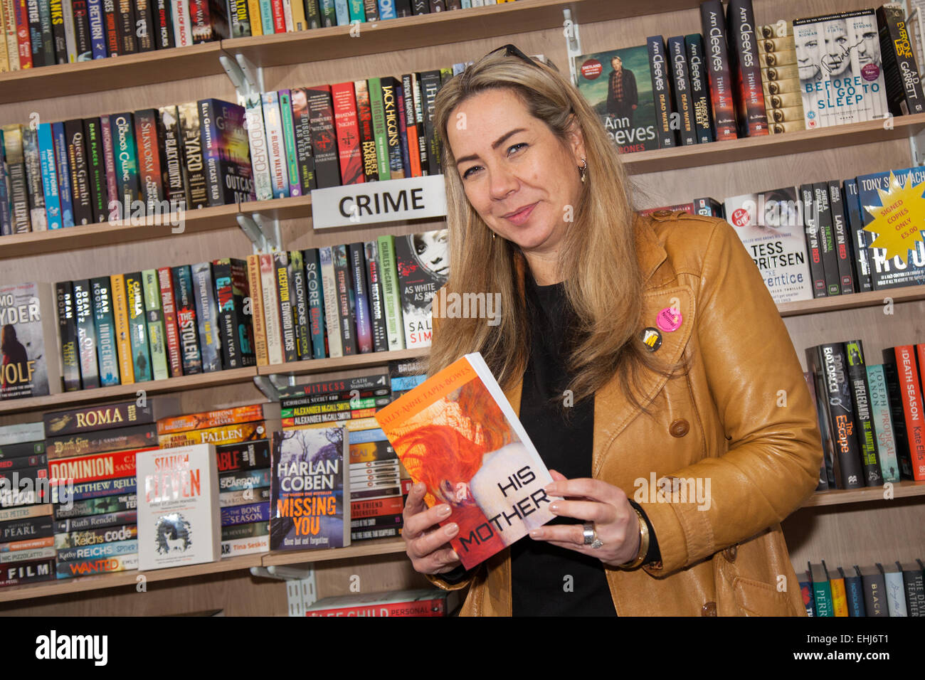 Formby, Southport, Merseyside UK. 14th March, 2015. Sally-Anne Tapia-Bowes Book signing at Formby Books. Sally-Anne - Stock Image