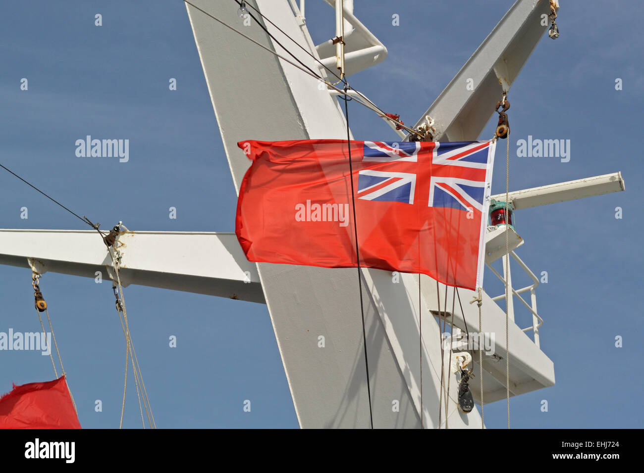 Red ensign on mast of Cruise & Maritime Voyages flagship Magellan Stock Photo
