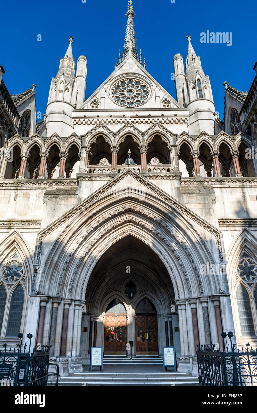 The Royal Courts of Justice is a court building in London which houses both the High Court and Court of Appeal - Stock Image