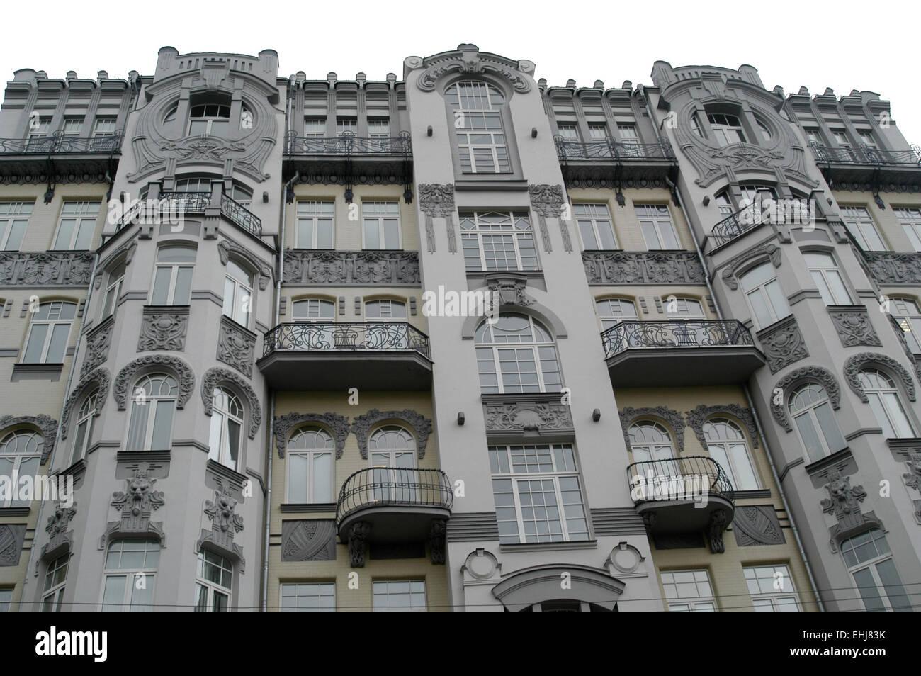Kiev, art deco building, HVB bank, Ukraine, art nouveau Stock Photo ...